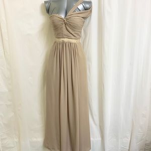 BCBG Champagne One Shoulder Jamille Gown
